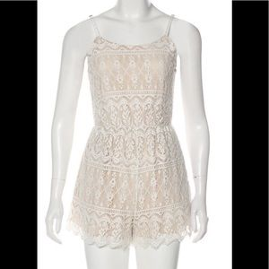 Alice + Olivia White Lace Romper with pockets